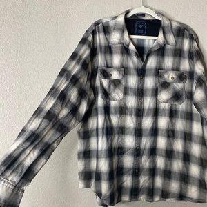 Guess Plaid Button down long sleeve shirt XXL
